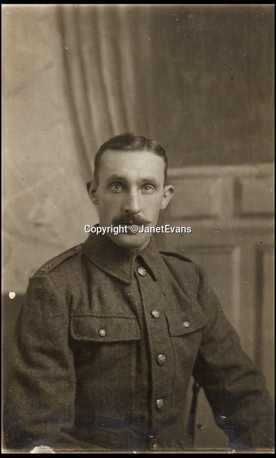 BNPS.co.uk (01202 558833)<br /> Pic: JanetEvans/BNPS<br /> <br /> ***Please Use Full Byline***<br /> <br /> Ernest Johnson. <br /> <br /> The untold story of how a British soldier used a violin as a war diary has come to light 100 years after the start of the First World War.<br /> <br /> Ernest Johnson etched the names and dates of everywhere he travelled to while serving the army into the back of the violin which he had taken with him to entertain troops in the trenches.<br /> <br /> The first entry was in August 1915 and is followed by 20 place names and dates where he saw action including some of the most famous battle locations in France, Belgium and Italy.<br /> <br /> Ernest died in 1948 and the story of his violin became the stuff of family legend until his granddaughter Jan Evans started researching their family history in 2012.<br /> <br /> The amazing tale has been told for the first time in a new book by Paul Atterbury, an expert on the Antiques Roadshow.