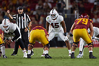 LOS ANGELES, CA - SEPTEMBER 11: Ricky Miezan #45 of the Stanford Cardinal gets ready for the next play during a game between University of Southern California and Stanford Football at Los Angeles Memorial Coliseum on September 11, 2021 in Los Angeles, California.