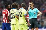 Spanish referee Guillermo Cuadra Fernandez have words with Getafe CF's Marc Cucurella (c-l) and Damian Suarez (c-r) and Atletico de Madrid's Thomas Lemar (l) during La Liga match. August 18,2019. (ALTERPHOTOS/Acero)
