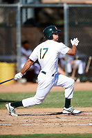 Oakland Athletics minor league outfielder Bobby Crocker #17 during an instructional league game against the San Francisco Giants at the Papago Park Baseball Complex on October 17, 2012 in Phoenix, Arizona. (Mike Janes/Four Seam Images)