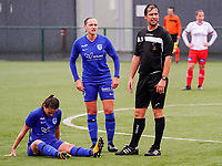 Match referee Andy De Ketelaere and Genk's Dorien Groven (4) check if the medic is coming player during a female soccer game between the women teams of Zulte Waregem A Dames and KRC Genk Ladies B on the 1/16 th qualifying round for the Belgian Womens Cup 2020  2021 , on saturday 26 th of September 2020  in Zulte , Belgium . PHOTO SPORTPIX.BE | SPP | SEVIL OKTEM