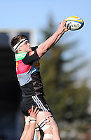 Jack Clifford of Harlequins wins the linout during the Aviva Premiership Rugby match between Harlequins and London Irish at The Twickenham Stoop on Saturday 7th March 2015 (Photo by Rob Munro)