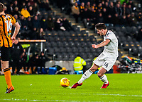 Sheffield United's midfielder Ryan Leonard (14) has his shot blocked during the Sky Bet Championship match between Hull City and Sheff United at the KC Stadium, Kingston upon Hull, England on 23 February 2018. Photo by Stephen Buckley / PRiME Media Images.