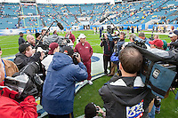 January 01, 2010:    Florida State head coach Bobby Bowden is surrounded by the media prior to the start of the Konica Minolta Gator Bowl College football action between the West Virginia Mountaineers and the Florida State Seminoles played at the Jacksonville Municipal Stadium in Jacksonville, Florida on January 01, 2010.