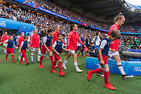 PARIS,  - JUNE 28: Julie Ertz #8, Abby Dahlkemper #7, Kelley O'Hara #5 and  Becky Sauerbrunn #4 enter the field during a game between France and USWNT at Parc des Princes on June 28, 2019 in Paris, France.