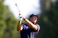 3rd July 2021, Detroit, MI, USA;  Phil Mickelson hits his tee shot on the 9th hole on July 3, 2021 during the Rocket Mortgage Classic at the Detroit Golf Club in Detroit, Michigan.