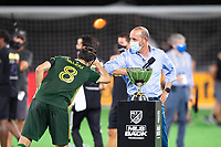 LAKE BUENA VISTA, FL - AUGUST 11: Diego Valeri #8 of the Portland Timbers celebrate with Don Garber after a game between Orlando City SC and Portland Timbers at ESPN Wide World of Sports on August 11, 2020 in Lake Buena Vista, Florida.