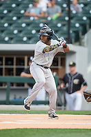 Jose Constanza (1) of the Louisville Bats at bat against the Charlotte Knights at BB&T BallPark on May 12, 2015 in Charlotte, North Carolina.  The Knights defeated the Bats 4-0.  (Brian Westerholt/Four Seam Images)