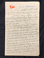 BNPS.co.uk (01202 558833)<br /> Pic: HAldridge/BNPS<br /> <br /> Letter written by William Harrison to his wife Ann complaining about the working conditions on board the Titanic<br /> <br /> A walking cane with a lightbulb on one end of it that a Titanic survivor waved in a desperate attempt to attract a rescue ship has sold for £105,000.Ella White held the wooden stick aloft in the clear night sky as she stood on the deck of the stricken liner to try and signal any passing ships. But her actions blinded crew members while they set about loading passengers into lifeboats.Second officer Charles Lightoller was so annoyed by Mrs White and her cane that he ordered it to be confiscated and thrown overboard.It was the marquee lot in a sale of Titanic artefacts held by auctioneers Henry Aldridge and Son of Devizes, Wilts.