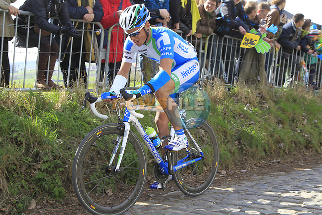 The breakaway group including Daniel Schorn (AUT) Team Netapp climb Koppenberg during the 96th edition of The Tour of Flanders 2012, running 256.9km from Bruges to Oudenaarde, Belgium. 1st April 2012. <br /> (Photo by Eoin Clarke/NEWSFILE).