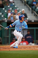Buffalo Bisons right fielder Ian Parmley (1) bats during a game against the Pawtucket Red Sox on May 19, 2017 at Coca-Cola Field in Buffalo, New York.  Buffalo defeated Pawtucket 7-5 in thirteen innings.  (Mike Janes/Four Seam Images)