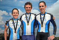 Ramblers podium cyclists, from left: Kirsty McCallum, Josh Page and Kerri-Anne Page. 2018 NZ Age Group Road Cycling Championships in Carterton, New Zealand on Sunday, 22 April 2018. Photo: Dave Lintott / lintottphoto.co.nz