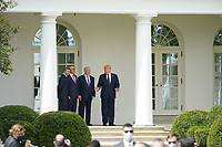 "From left to right: Sheikh Abdullah bin Zayed bin Sultan Al Nahyan, Minister of Foreign Affairs and International Cooperation of the United Arab Emirates; Dr. Abdullatif bin Rashid Alzayani, Minister of Foreign Affairs, Kingdom of Bahrain; Prime Minister Benjamin Netanyahu of Israel;  and United States President Donald J. Trump prior to a signing ceremony of the ""Abraham Accords"" on the South Lawn of the White House in Washington, DC on Tuesday, September 15, 2020. <br /> Credit: Chris Kleponis / Pool via CNP /MediaPunch"