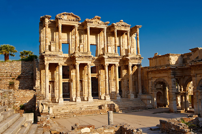 Photo of The library of Celsus. Images of the Roman ruins of Ephasus, Turkey. Stock Picture & Photo art prints 1
