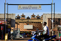 BURKINA FASO, capital Ouagadougou, Peoples House in traditional architecture style / Haus des Volkes im traditionellen Baustil