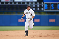 Ben Breazeale (39) of the Wake Forest Demon Deacons rounds the bases after hitting a home run against the Florida Gators in Game Two of the Gainesville Super Regional of the 2017 College World Series at Alfred McKethan Stadium at Perry Field on June 11, 2017 in Gainesville, Florida.  (Brian Westerholt/Four Seam Images)