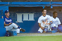 (R-L) John Wathan, Nick Doscher (8) and Neder Severino (33) watch the action versus Bristol from the dugout at Burlington Athletic Park in Burlington, NC, Thursday, July 12, 2007.