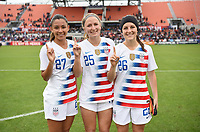 Houston, TX - Sunday April 8, 2018: Tegan McGrady, Hailie Mace, Haley Hanson during an International friendly match versus the women's National teams of the United States (USA) and Mexico (MEX) at BBVA Compass Stadium.