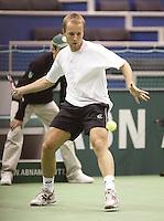 25-2-06, Netherlands, tennis, Rotterdam, ABNAMROWTT, Christophe Rochus in action against  Jarkko Nieminen