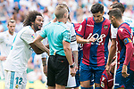 Real Madrid's Marcelo talking with the referee during La Liga match between Real Madrid and Levante UD at Santiago Bernabeu Stadium in Madrid, Spain September 09, 2017. (ALTERPHOTOS/Borja B.Hojas)
