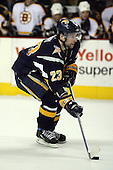 February 17th 2007:  Chris Drury (23) of the Buffalo Sabres brings the puck up ice during the shootout vs. the Boston Bruins at HSBC Arena in Buffalo, NY.  The Bruins defeated the Sabres 4-3 in a shootout.