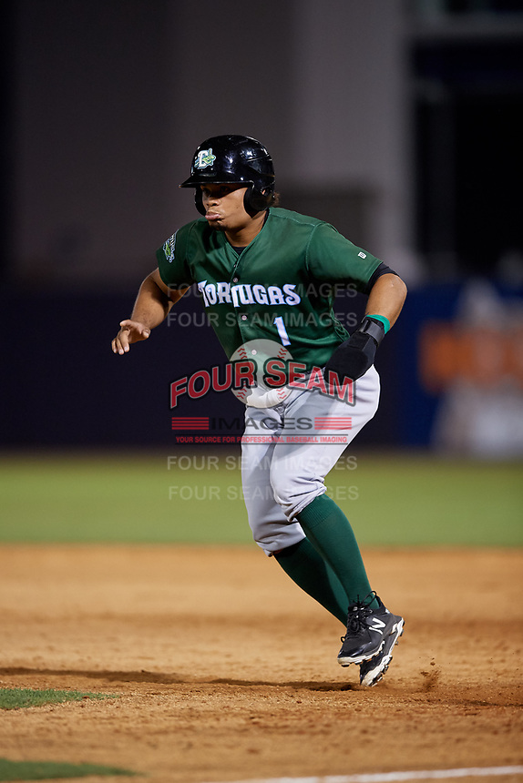 Daytona Tortugas Randy Ventura (1) leads off first during a Florida State League game against the Tampa Tarpons on May 17, 2019 at George M. Steinbrenner Field in Tampa, Florida.  Daytona defeated Tampa 8-6.  (Mike Janes/Four Seam Images)