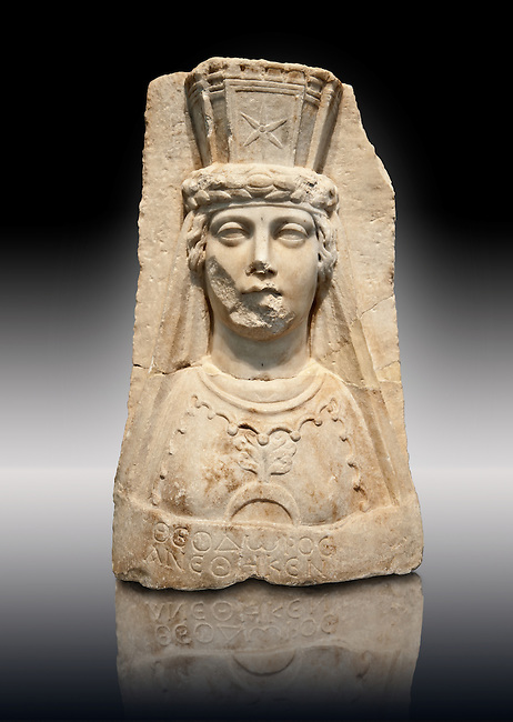 Photo of Roman releif sculpture of Aphrodite from the Theater dedicated to Theodorus, second-third century AD, Aphrodisias, Turkey, Images of Roman art bas releifs. Buy as stock or photo art prints.