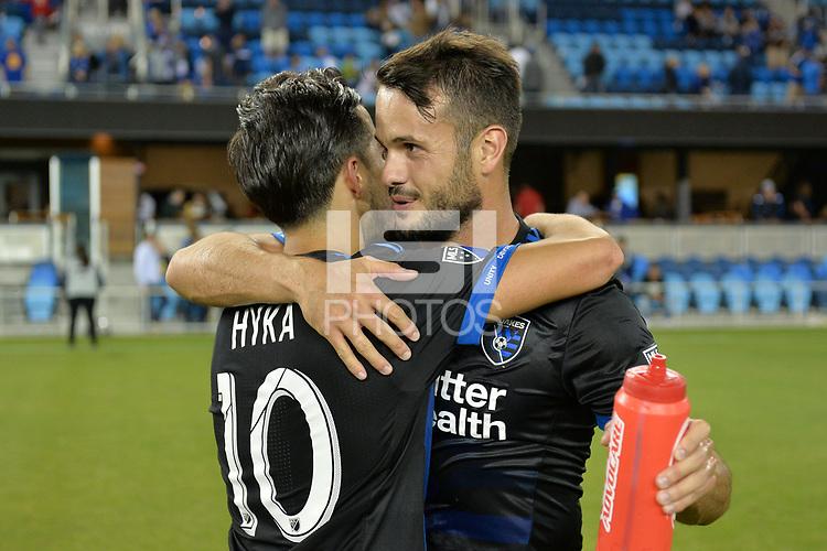 San Jose, CA - Wednesday August 29, 2018: Jahmir Hyka, Vako during a Major League Soccer (MLS) match between the San Jose Earthquakes and FC Dallas at Avaya Stadium.