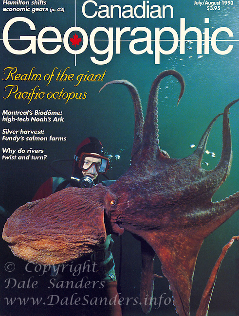 """Canadian Geographic Magazine Cover Story on """"Realm of the Giant Pacific Octopus"""".  Written and Photographed by Dale Sanders.  2000 word Article and Photos."""