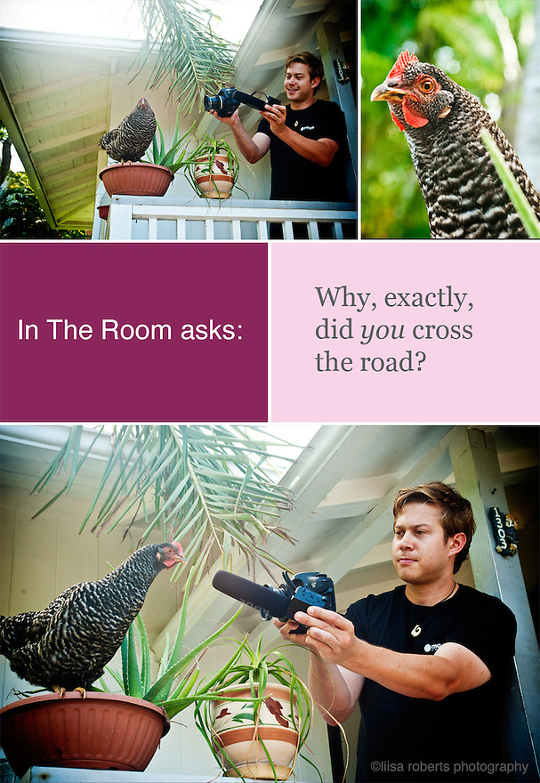 "Rob from IN THE ROOM asks the age old question, ""What did the chicken cross the road?"" to the chicken.   <br /> <br /> Filming Liisa Roberts Photography for the IN THE ROOM documentary / television series."