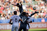 CARSON, CA - SEPTEMBER 29: Jonathan dos Santos #8 of the Los Angeles Galaxy and Tosaint Ricketts #87 ball watching during a game between Vancouver Whitecaps and Los Angeles Galaxy at Dignity Health Sports Park on September 29, 2019 in Carson, California.