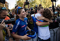 Elisa Balsamo (ITA/Valcar) is the new World Champion and is celebrated  by her teammates after the podium ceremony<br /> <br /> Women Elite - Road Race (WC)<br /> from Antwerp to Leuven (158km)<br /> <br /> UCI Road World Championships - Flanders Belgium 2021<br /> <br /> ©kramon
