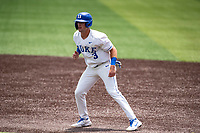 Duke Blue Devils first baseman Chris Crabtree (3) in action against the Liberty Flames in NCAA Regional play on Robert M. Lindsay Field at Lindsey Nelson Stadium on June 4, 2021, in Knoxville, Tennessee. (Danny Parker/Four Seam Images)