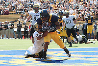 Marvin Jones catches the touchdown pass against Ray Polk. The California Golden Bears defeated the Colorado Buffaloes 52-7 at Memorial Stadium in Berkeley, California on September 11th, 2010.