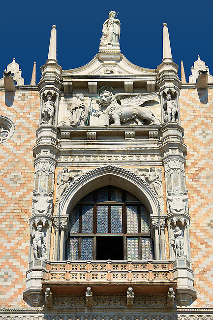 The 14th Century Gothic style balcony on the south facade of The Doge's Palace, Palazzo Ducale, Venice Italy