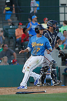 Myrtle Beach Pelicans infielder Daniel Lockhart (7) scoring a run during a game against the Potomac Nationals at Ticketreturn.com Field at Pelicans Ballpark on May 23, 2015 in Myrtle Beach, South Carolina.  Myrtle Beach defeated Potomac 7-3. (Robert Gurganus/Four Seam Images)