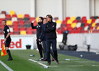 1st October 2020; Brentford Community Stadium, London, England; English Football League Cup, Carabao Cup Football, Brentford FC versus Fulham; Brentford Manager Thomas Frank looks on from the touchline