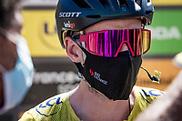 Adam Yates (GBR/Mitchelton-Scott) as the new yellow jersey / GC leader is interviewed at the race start in Le Teil<br /> <br /> Stage 6 from Le Teil to Mont Aigoual (191km)<br /> <br /> 107th Tour de France 2020 (2.UWT)<br /> (the 'postponed edition' held in september)<br /> <br /> ©kramon