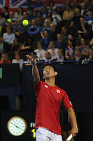 Yoshihito Nishioka (JAP), MARCH 05, 2016 - Tennis : Yoshihito Nishioka (JAP) in action during the Davis Cup by PNB Paribas , World Group first round between Great Britain and Japan at The Barclaycard Arena, Birmingham, United Kingdom. (Photo by Rob Munro/AFLO)