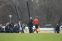 LOUISVILLE, KY - MARCH 13: Christy Holly head coach of Racing Louisville FC speaks with the ref during a game between West Virginia University and Racing Louisville FC at Thurman Hutchins Park on March 13, 2021 in Louisville, Kentucky.