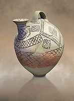 Cycladic askos with hatched painted decoration.  Cycladic III (2300-2000 BC) , Phylakopi, Melos. National Archaeological Museum Athens. Cat no 5826. <br /> <br /> Decorated pottery is rare during this Ccladic period. This Cycladic askos has vertical handle on top with a spout. It has painted decoration of hatched bands and a lozenge pattern