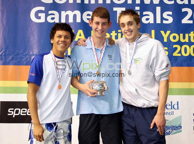 Pix by SWpix.com - Swimming. Commonwealth games trials and National Youth Championships...4-9/08/05..Picture Copyright >> Simon Wilkinson >> 07811267706..Winners of the mens 17/18 years 200m Breaststroke: Ross Clark of Tayside Gold (M), Craig Elliot of Cockermouth Silver (R) and Mark Branch of Ren 96 Bronze
