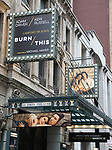 """Burn/This"" starring Adam Driver and Keri Russell Theatre Marquee at the Hudson Theatre on February 8, 2019 in New York City."