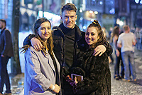 Pictured: Holly Rebecca Hughes (R) in Wind Street, Swansea, south Wales, UK. Friday 21 December 2018<br /> Re: Black Eye Friday, also known as Mad Friday or Black Friday which is the last Friday before Christmas Day.
