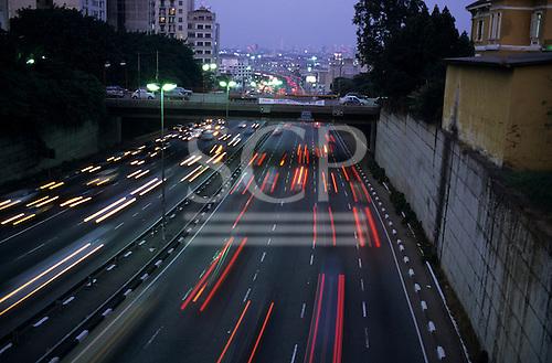 Sao Paulo, Brazil. Evening traffic on the inner ring road.