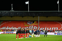 15th November 2020; Leuven, Belgium;  The players of both teams stand for anthems before the UEFA Nations League match group stage final tournament - League A - Group 2 between Belgium and England