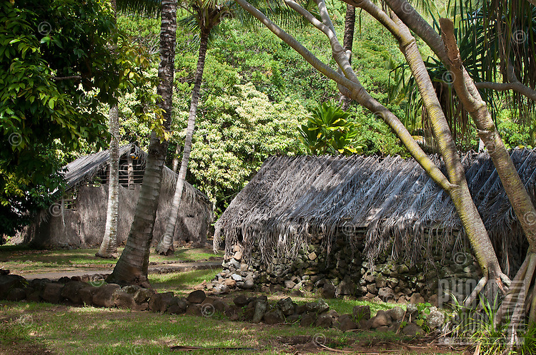 Recreated Hawaiian huts at Kamokila Hawaiian Village, Wailua River Valley, Kauai.
