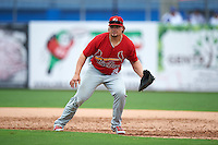 Palm Beach Cardinals first baseman Luke Voit (25) during the first game of a doubleheader against the Dunedin Blue Jays on August 2, 2015 at Florida Auto Exchange Stadium in Dunedin, Florida.  Palm Beach defeated Dunedin 4-1.  (Mike Janes/Four Seam Images)