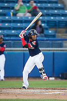 Wendell Rijo (11) of the Salem Red Sox at bat against the Winston-Salem Dash at LewisGale Field at Salem Memorial Ballpark on May 13, 2015 in Salem, Virginia.  The Red Sox defeated the Dash 8-2.  (Brian Westerholt/Four Seam Images)