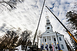 NORFOLK, CT-122320JS05- Workers from A Quick Pick Crane & Rigging Service prepare to remove the steeple of the United Church of Christ in Norfolk on Wednesday. The steeple was taken down as part of a larger renovation project. <br /> Jim Shannon Republican-American